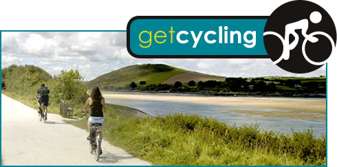 Get Cycling logo and photograph of people cycling