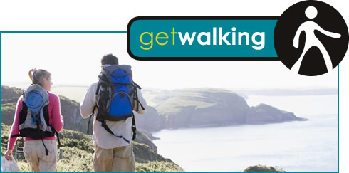Get Walking logo and photograph of couple walking